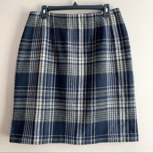 Vintage Savannah Blue Grey Plaid Wool Pencil Skirt